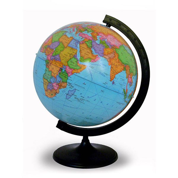 Глобус Земли политический на дуге и подставке из пластика, диаметр 320 мм