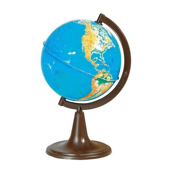 Глобус Земли физический на подставке из пластика, диаметр 120 мм