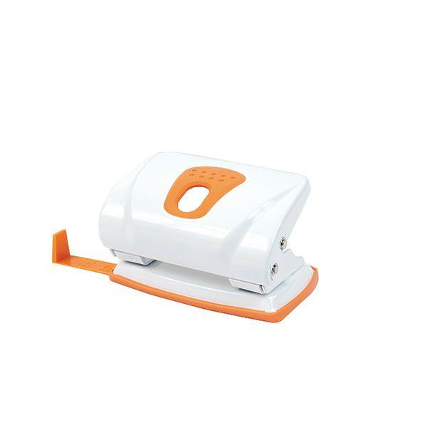 Дырокол MODERNA бело-оранж. металл 15 л. линейка форматов
