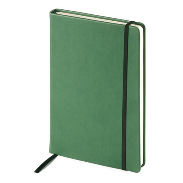 Ежедневник А5 недат. 144х212 мм 208 л. MEGAPOLIS VELVET зелен. имп.перепл.мат. резин. ляссе карман