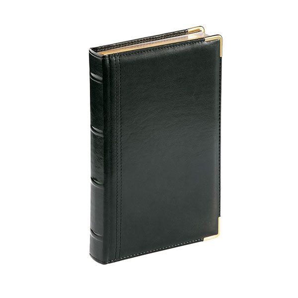 Ежедневник А5 п/дат. 208 л. BOSS черный рецик.кожа ляссе зол. обрез метал. уголки