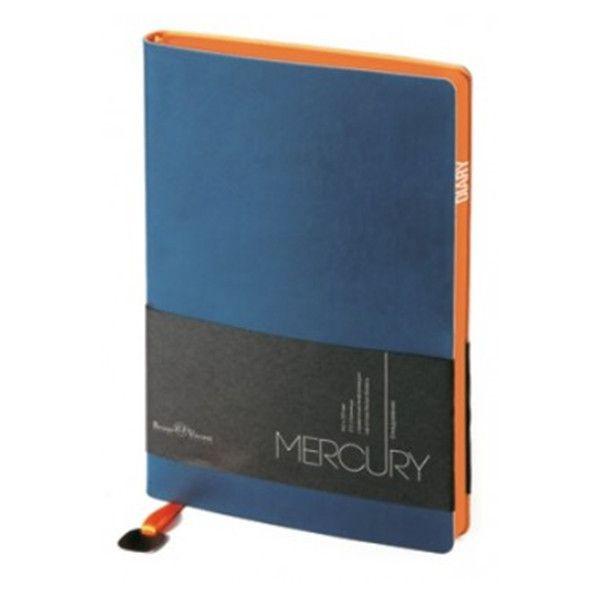 Ежедневник А6 недат. 136 л. MERCURY синий имп.перепл.мат. ляссе с метал.шильдиком оранж.обрез