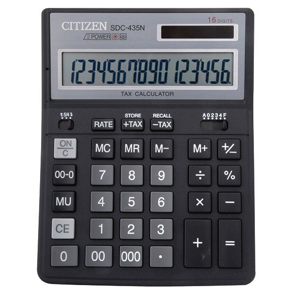 Калькулятор CITIZEN DC435 16 р черный бухгалтерский