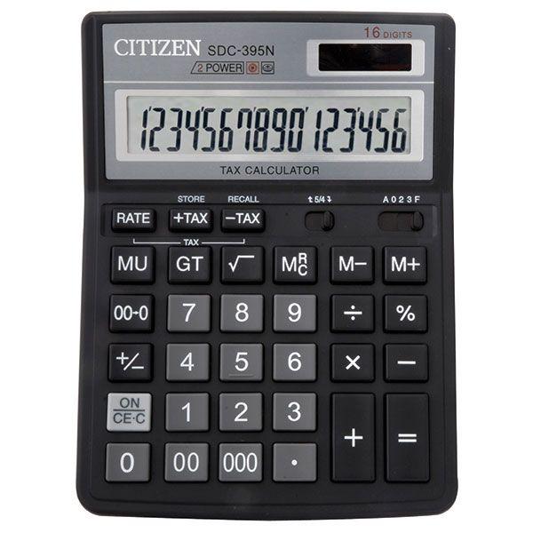 Калькулятор CITIZEN SDC395 16 р черный бухгалтерский