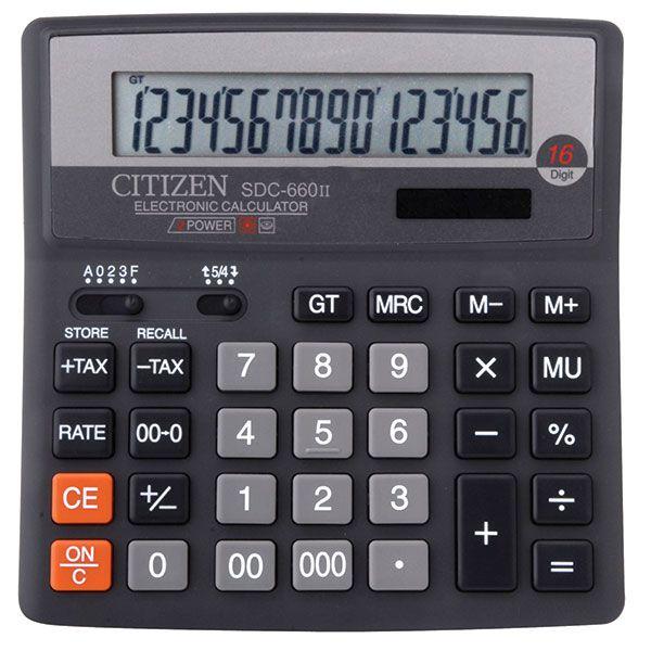 Калькулятор CITIZEN SDC660 16 р черный бухгалтерский