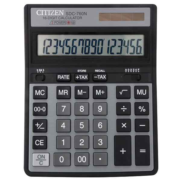 Калькулятор CITIZEN SDC760 16 р черный бухгалтерский