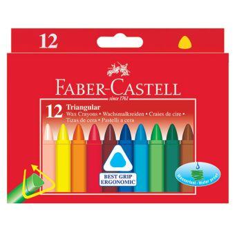 Трехгранные восковые карандаши TRIANGULAR, набор цветов, в картонной коробке, 12 шт.