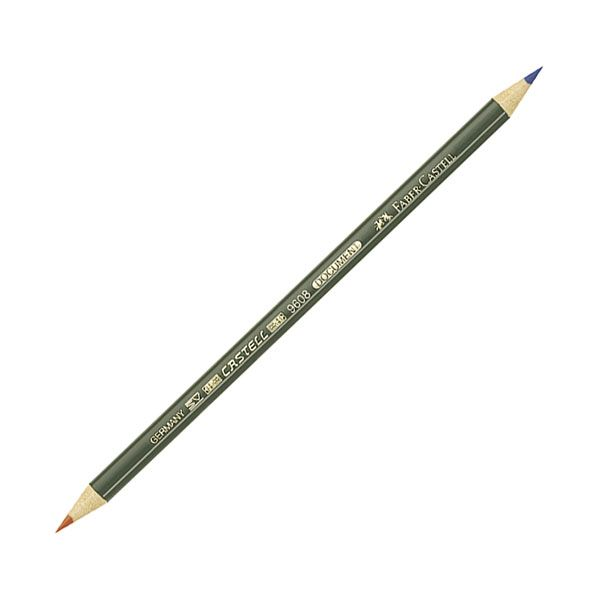 Карандаш спец. FABER CASTELL 12 шт 2 цв. круглый с заточкой перманентный двусторонний