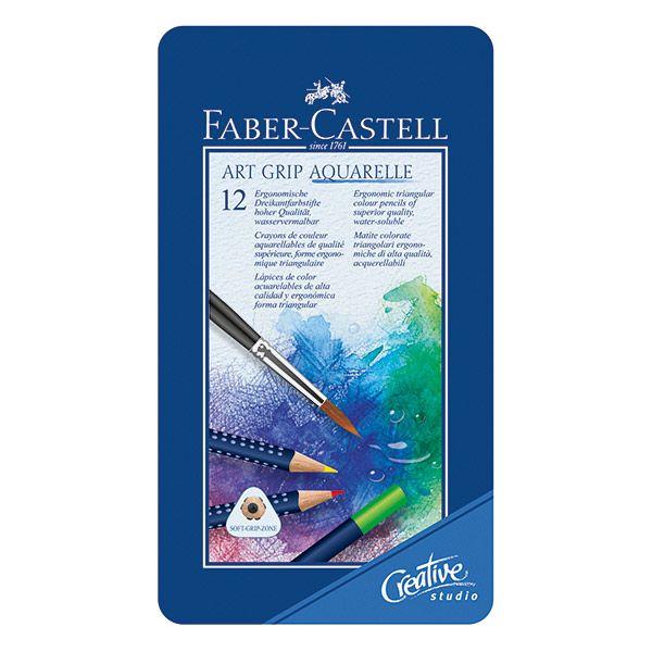 Акварельные карандаши ART GRIP AQUARELLE, набор цветов, в металлической коробке, 12 шт.