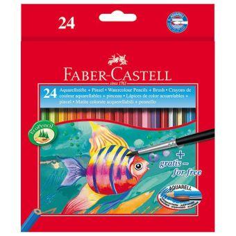 Набор цветн.каранд FABER COLOUR PENCILS 24 цв. шестигранные с заточкой с кисточкой