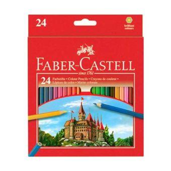 Цветные карандаши ECO с точилкой, набор цветов, в картонной коробке, 24 шт (трехгранные)