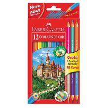 Цветные карандаши Замок, в карт. промоупаковке, 12 шт + 3 двухцветных карандаша+точилка