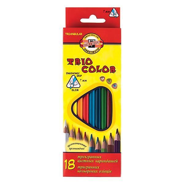 Набор цветн.каранд KOH-I-NOOR TRIOCOLOR 18 цв. трехгранные с заточкой