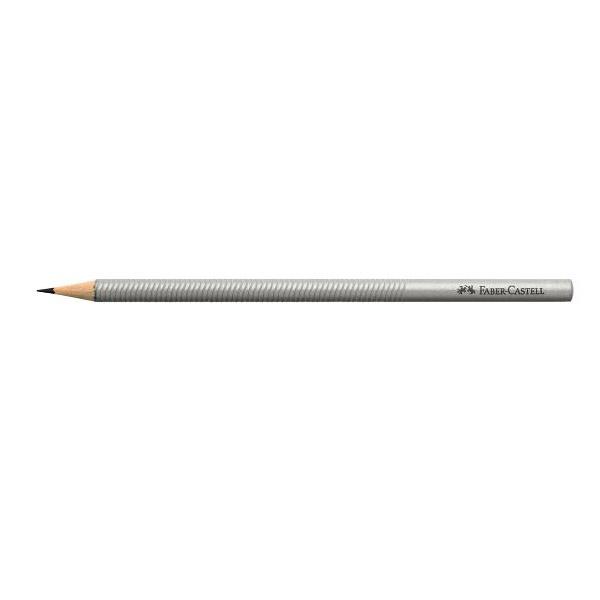Карандаш чернографит. FABER-CASTELL DESIGN В трехгранный с заточкой, серебристый корпус
