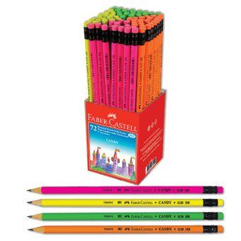 Чернографитовый карандаш CANDY с ластиком, твердость HB, в пластиковой коробке, 72 шт.,