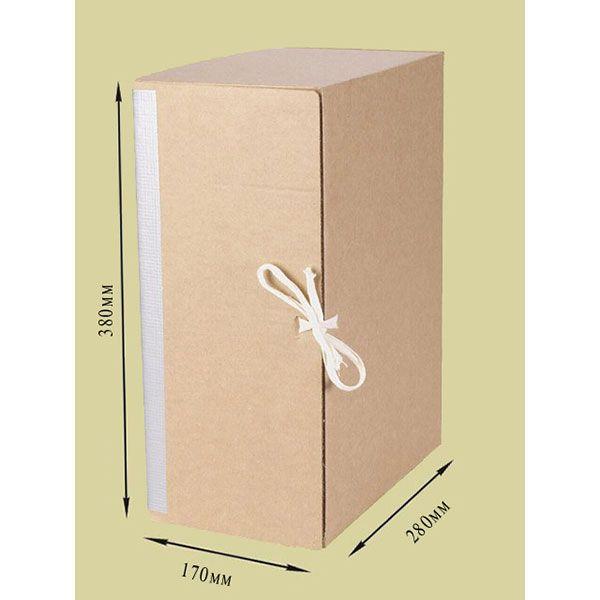 Короб архивный ОФИССТАНД. 280х170х380 серый картон вертикальный с завязками