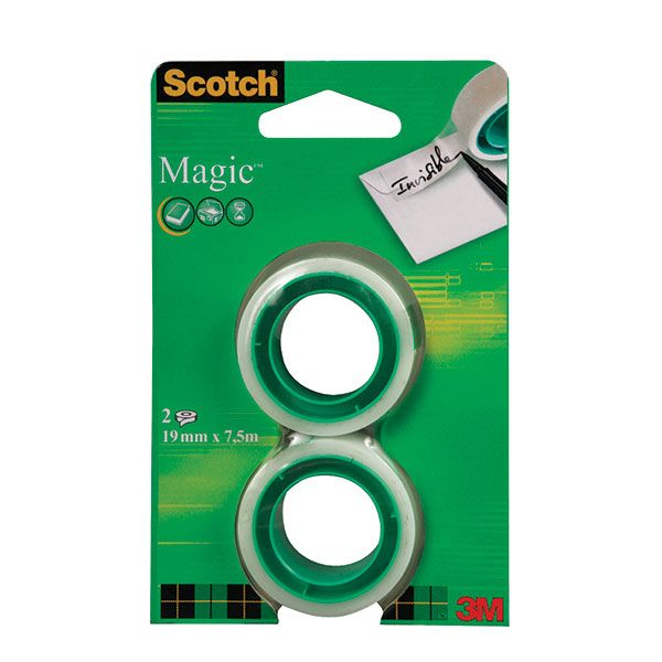 Клейк.лента канцелярская SCOTCH MAGIC 19 мм 7,5 м  прозр.2шт.