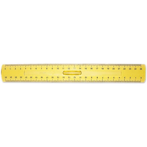 Линейка пластик 25 см непрозр. с держателем желт.