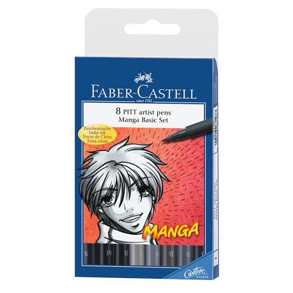 Капиллярные ручки MANGA,  набор типов, в футляре, 8 шт.