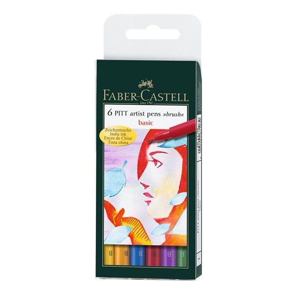 Капиллярные ручки PITT® ARTIST PEN,набор типов, основные цвета, в футляре, 6 шт.
