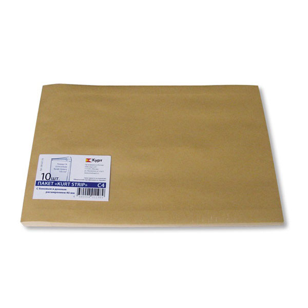Пакет почт. крафт С4 229х324х40 стрип 130 г/м2 объемн.