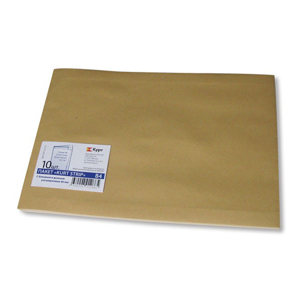 Пакет почт.крафт 250х353х40 стрип 130 г/м2 обьемн.10 шт.