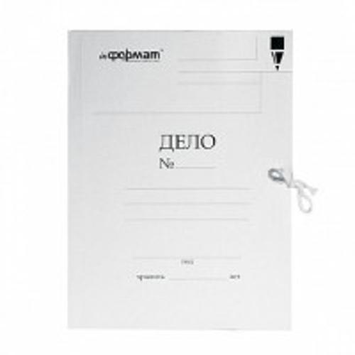Папка с завязками inФОРМАТ ДЕЛО А4 белый картон мелованный 320 г/м2