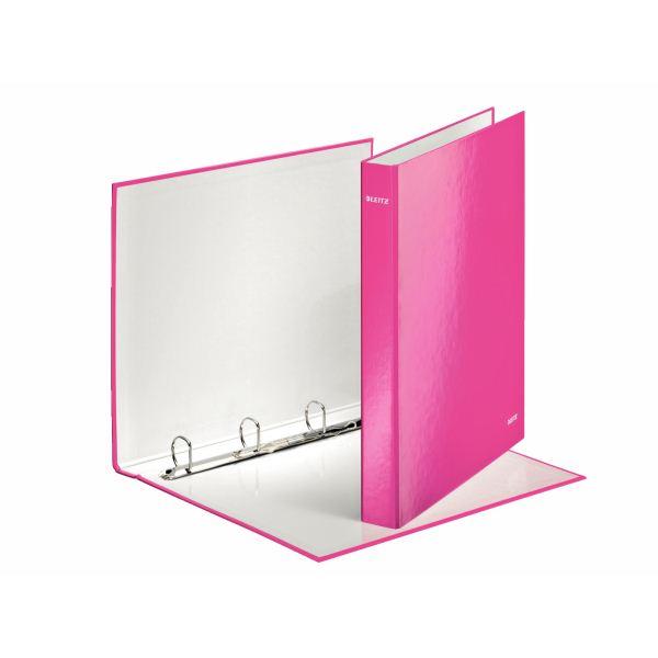 Папка с кольцами ESSELTE WOW 4 кольца А4 розовый пластик 25 мм