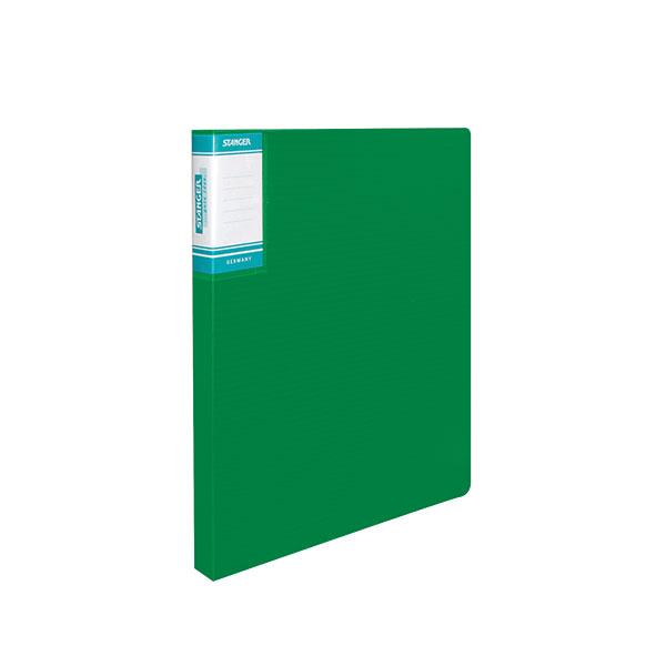Папка с кольцами STANGER HOR LINES 2 кольца А4 зеленый пластик 0,7мм корешок 25 мм карман