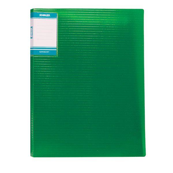 Папка с файлами STANGER HOR LINES 10 файлов А4 зеленый пластик карман