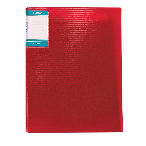 Папка с файлами STANGER HOR LINES 10 файлов А4 красный пластик карман