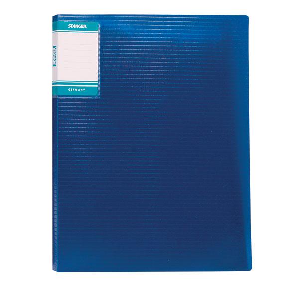 Папка с файлами STANGER HOR LINES 10 файлов А4 синий пластик карман