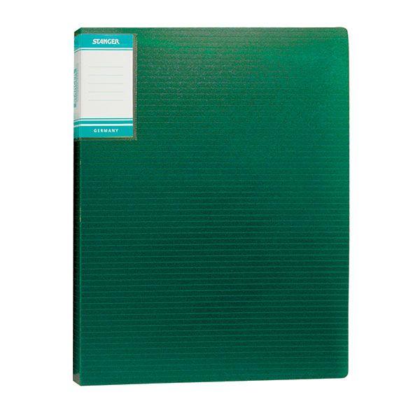 Папка с файлами STANGER HOR LINES 20 файлов А4 зеленый пластик карман