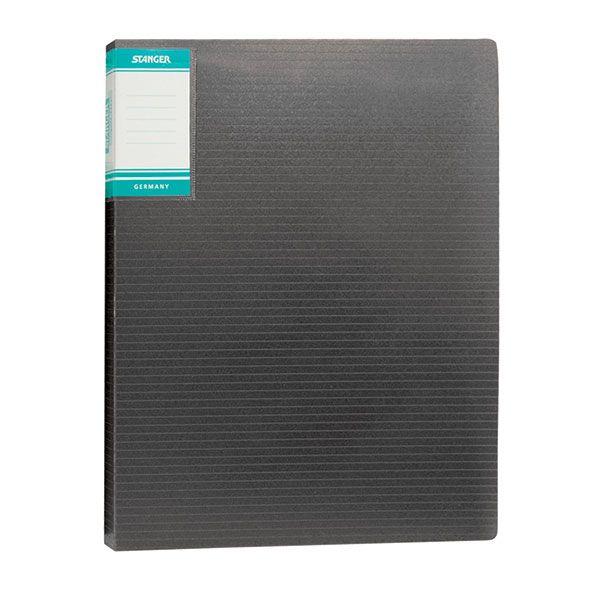 Папка с файлами STANGER HOR LINES 20 файлов А4 черный пластик карман
