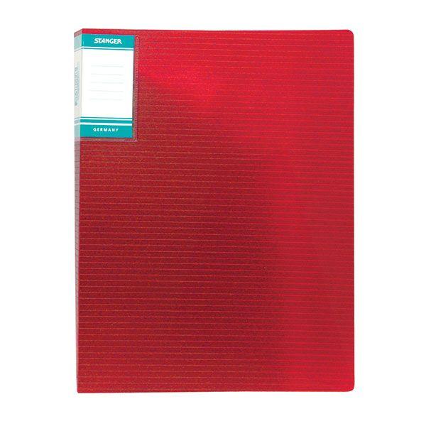 Папка с файлами STANGER HOR LINES 30 файлов А4 красный пластик карман