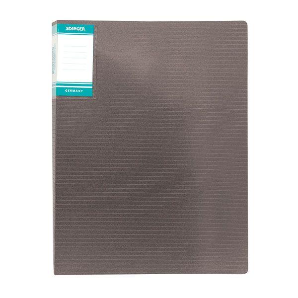 Папка с файлами STANGER HOR LINES 30 файлов А4 черный пластик карман