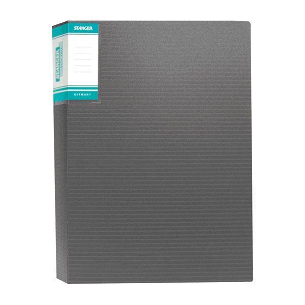 Папка с файлами STANGER HOR LINES 60 файлов А4 черный пластик карман