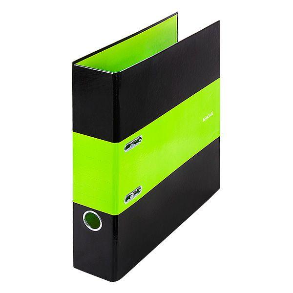 Папка-регистратор EAGLE INTOUCH А4 черно-зеленая картон 75 мм метал.окант.