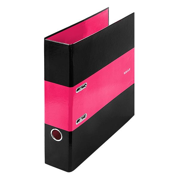 Папка-регистратор EAGLE INTOUCH А4 черно-розовая картон 75 мм метал.окант.