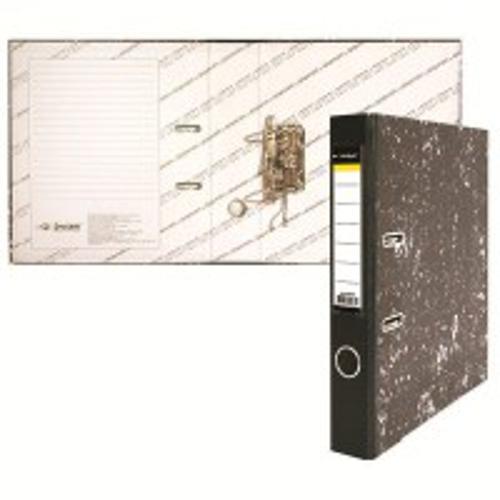 Папка-регистратор inФОРМАТ А4 черный мрамор картон 55 мм метал.окант. съемн. мех. карман