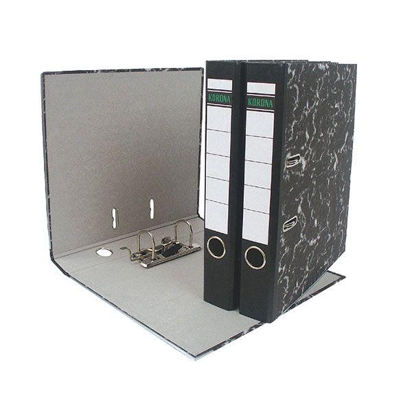 Папка-регистратор KORONA А4 черный мрамор картон 55 мм метал.окант. съемн. мех.