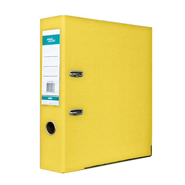 Папка-регистратор STANGER PP А4 желт. картон 75 мм метал.окант. съемн. мех. карман