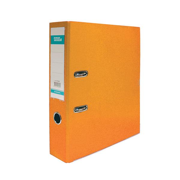 Папка-регистратор STANGER PP А4 оранж. картон 75 мм метал.окант. съемн. мех. карман