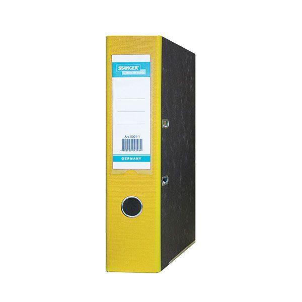 Папка-регистратор STANGER А4 мраморно-желтый картон 75 мм метал.окант. съемн. мех.