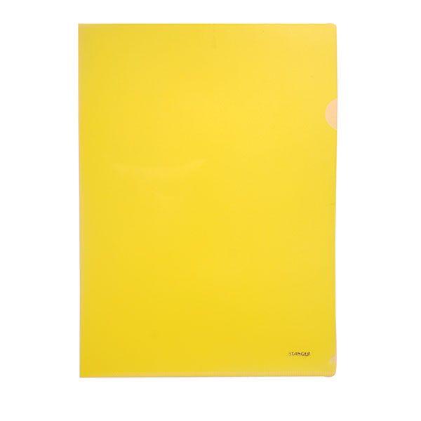 Папка-уголок STANGER А4 желтый пластик 200мкм