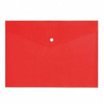 Пласт. конверты inФОРМАТ А4 красный пластик 150мкм на кнопке