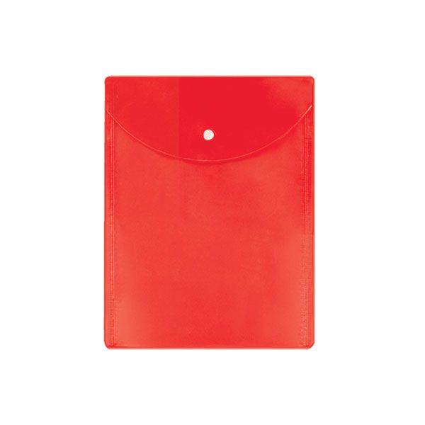 Пласт. конверты inФОРМАТ А4 красный пластик 150мкм на кнопке вертикальный