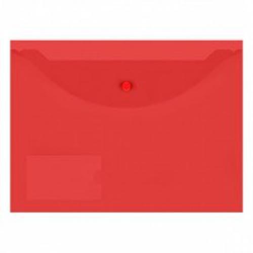 Пласт. конверты inФОРМАТ А4 красный пластик150мкм на кнопке карман д/визиток