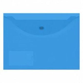 Пласт. конверты inФОРМАТ А4 синий пластик 150мкм на кнопке карман д/визиток