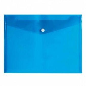 Пласт. конверты inФОРМАТ А5+ синий пластик 180мкм на кнопке